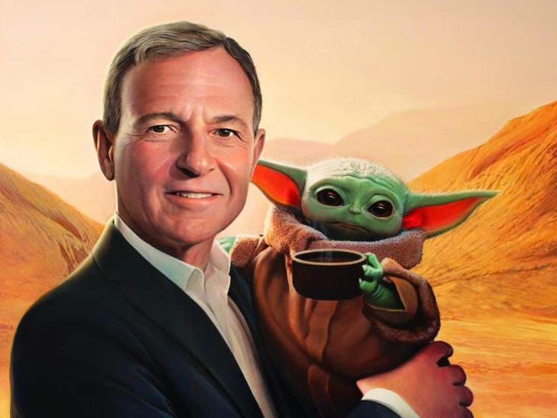 Painting of Disney CEO Bob Iger holding Baby Yoda