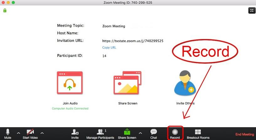 record option for a virtual marketing meeting on Zoom