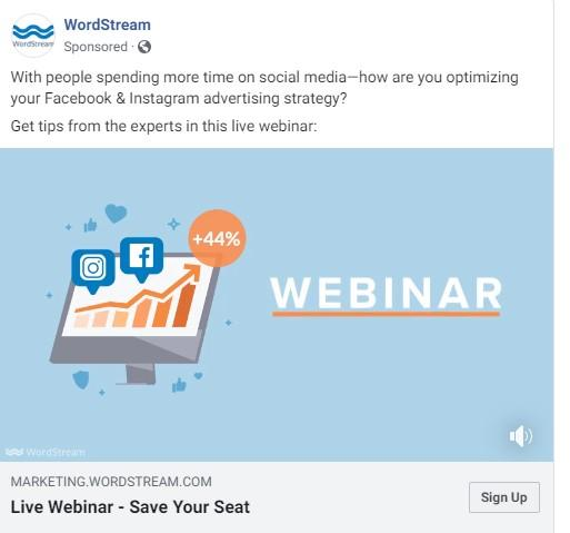 webinar marketing Facebook ad example