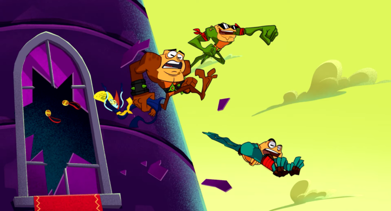 Battletoads midmission cut scene: three heroes jump out of a window
