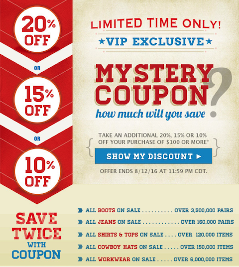 sales promotion examples mystery coupon