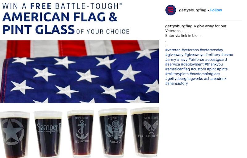 free november marketing ideas veterans day instagram giveaway