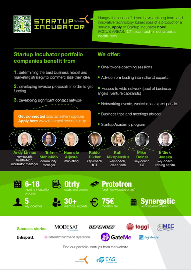 one sheeter examples startup incubator