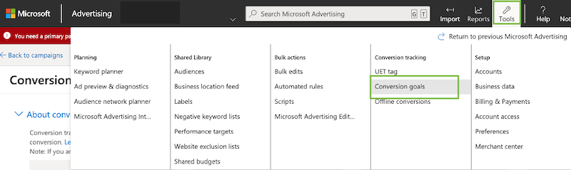 microsoft ads conversion tracking event tracking create a new conversion in microsoft ads