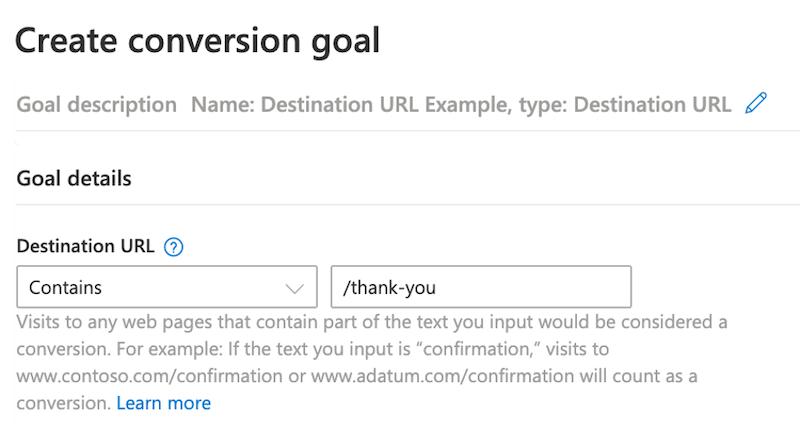 microsoft ads conversion tracking event tracking create conversion goal