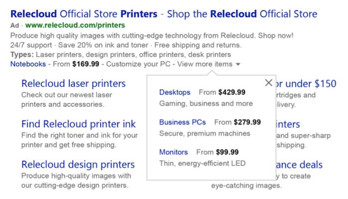 microsoft ads optimizations price extension