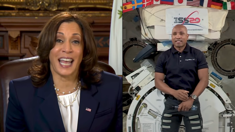 Vice President Kamala Harris called NASA astronaut Victor Glover on the International Space Station in February.
